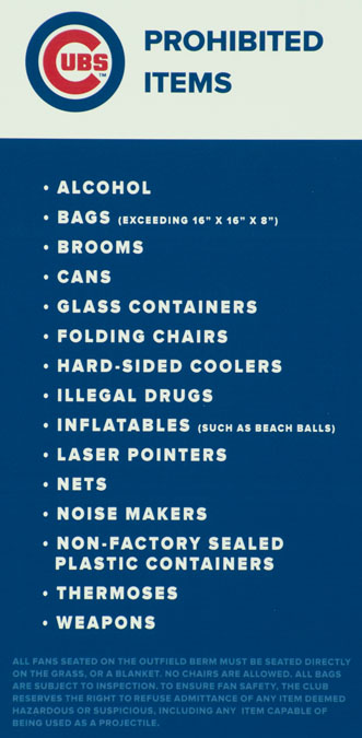 Sloan Park Prohibited Items List