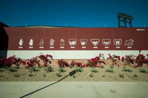 Chicago Cubs logos throughout history featured on Cubs Park Spring Training Stadium.