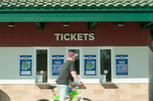 Cubs Park ticket and will call area for the Cubs Spring Training Stadium in Mesa, Arizona.