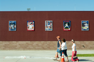 Cubs Park features images of 2014 Cubs players baseball cards.