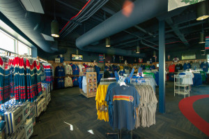 Inside the Cubs Park gift shop.