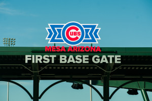 Cubs Park first base gate for entrance to Chicago Cubs Spring Training games in Mesa, Arizona.